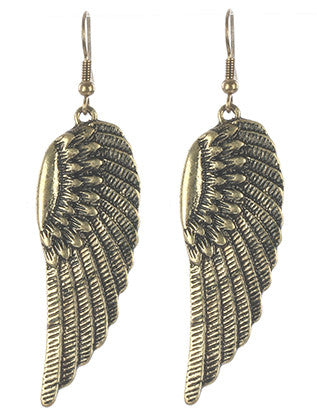 Gold Aged Metal Wings Earring