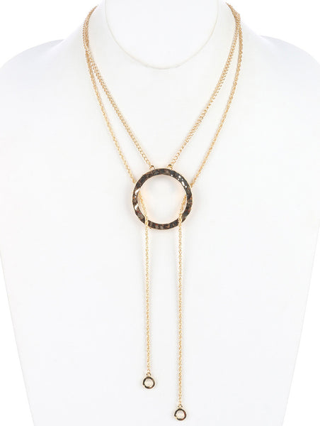 Hammered Metal Ring Double Chain Necklace