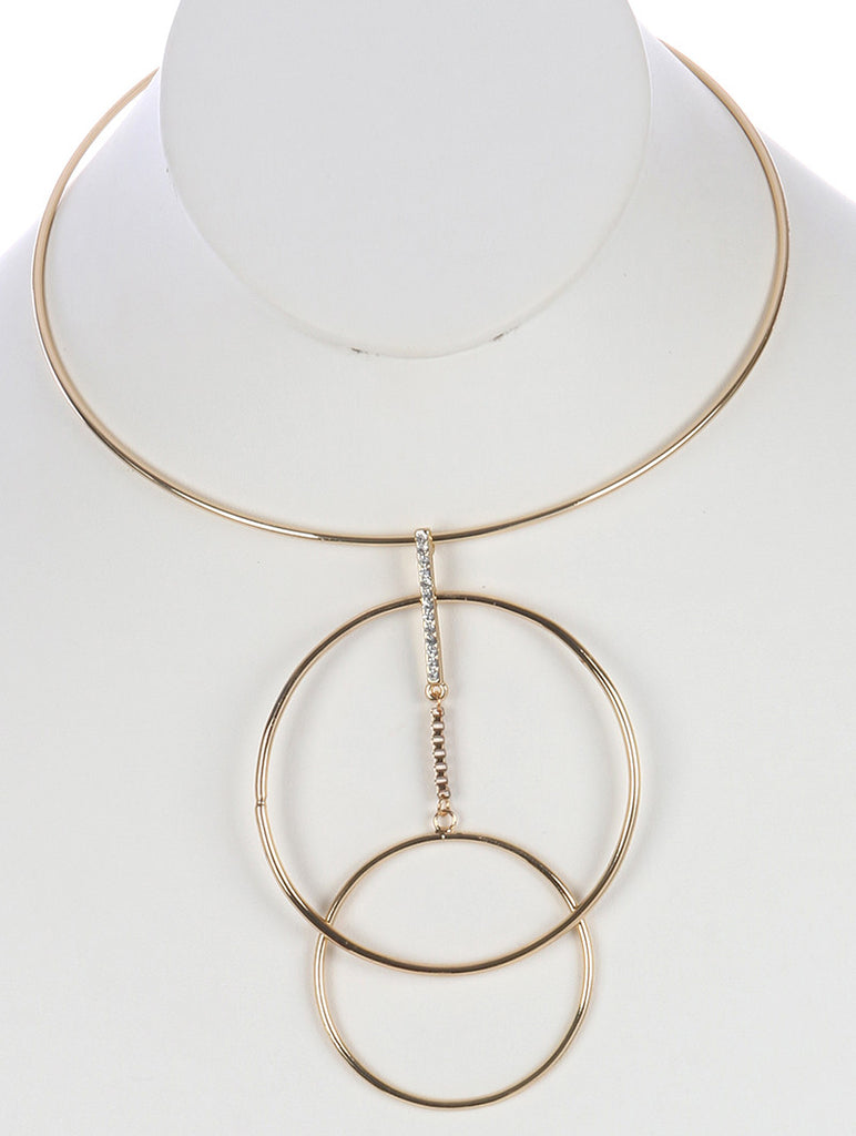 Double Layer Ring Gold Choker
