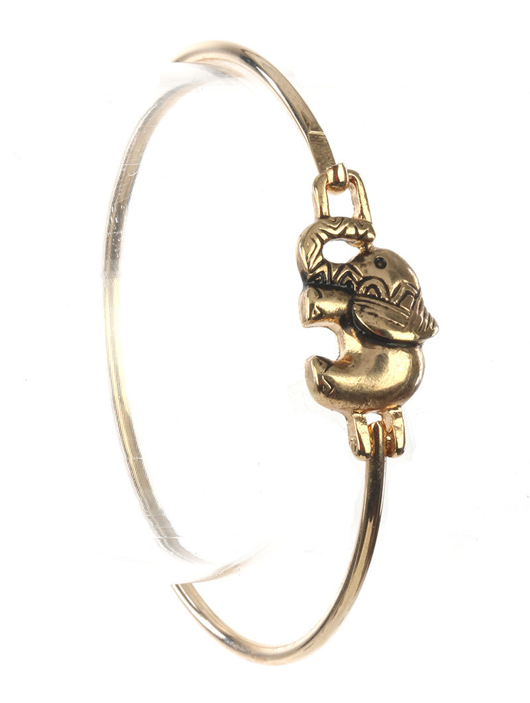 Gold Aged Metal Elephant Bangle Bracelet