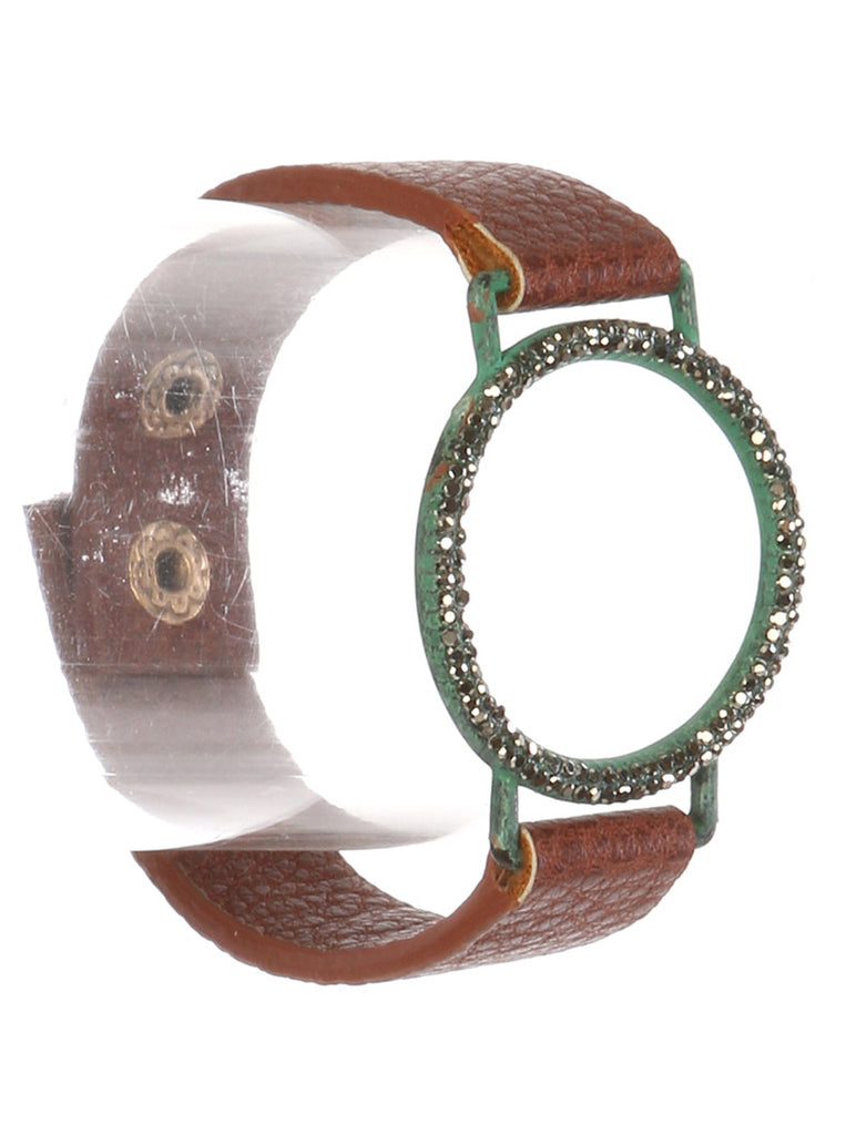 Gypsy Turquoise Pave Crystal Ring Cuff