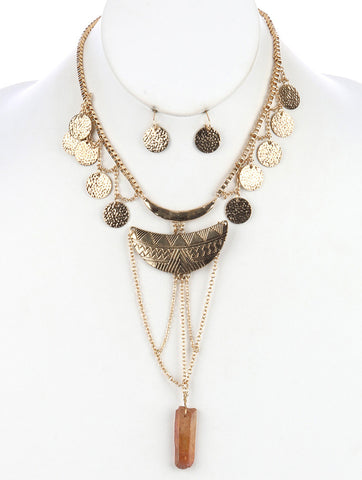Gypsy Coin Aged Gold Layered Necklace