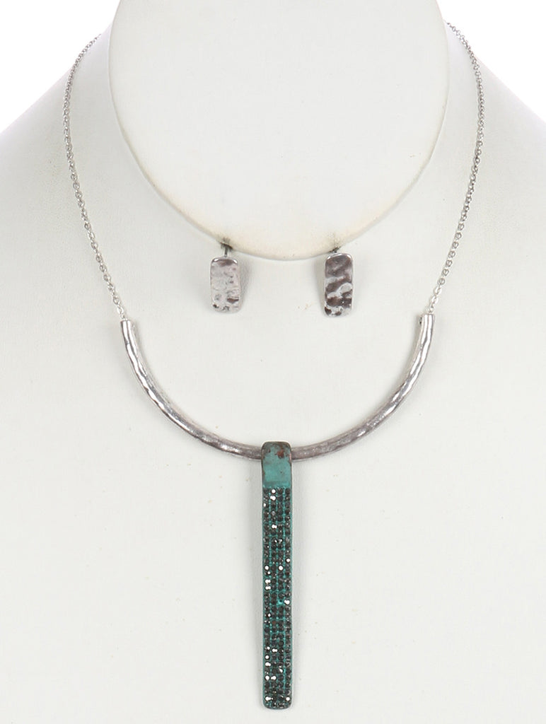 Gypsy Aged Turquoise Crystal Drop Necklace Set