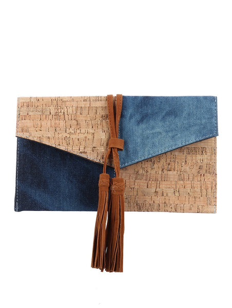 Denim Cork Crossbody Clutch