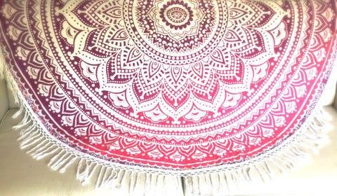 Rose Ombre Fringe Mandala India Tapestry