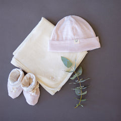 organic merino booties, beanies and blanket