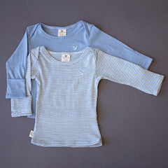 organic merino blue long sleeved top