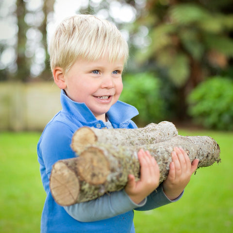 boy holding pieces of wood
