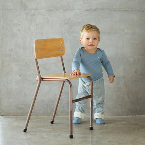 boy wearing north sea blue merino top and leggings