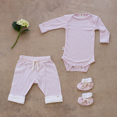 pink organic merino bodysuit and pants