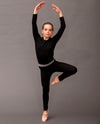 black slate merino long sleeve top and leggings