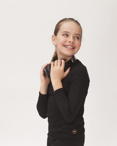 black organic merino tweens long sleeve top