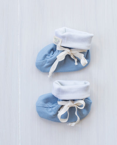 blue merino baby booties