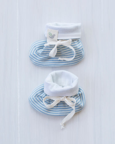 stripe blue merino booties for babies