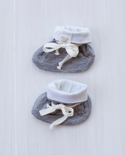 grey marle merino baby booties