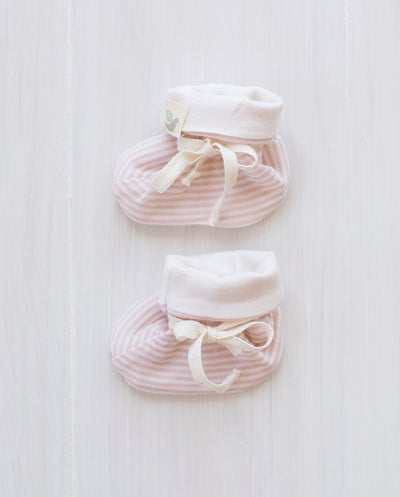 rose stripe merino booties