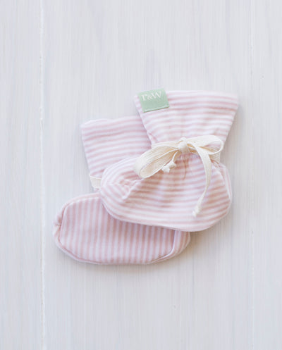 rose stripe organic merino booties