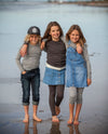 tweens wearing organic merino long sleeve top