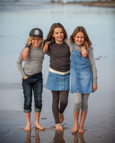 kids wearing organic merino leggings
