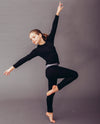 black slate long sleeve top and leggings in organic merino