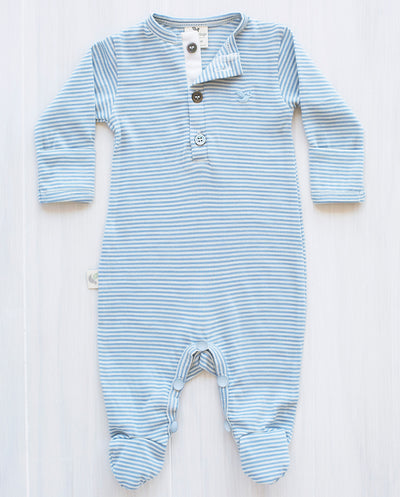 stripe north sea blue organic merino jumpsuit for babies