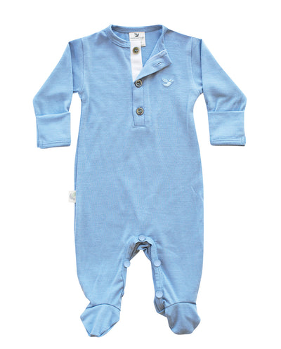north sea blue merino wool baby pyjamas