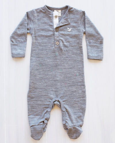 flat lay of a grey marle organic merino jumpsuit