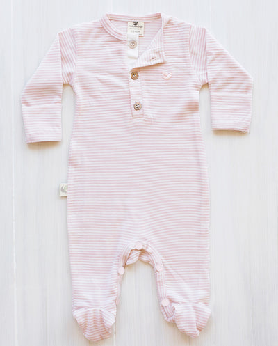 stripe dusty rose merino wool pyjamas toddler