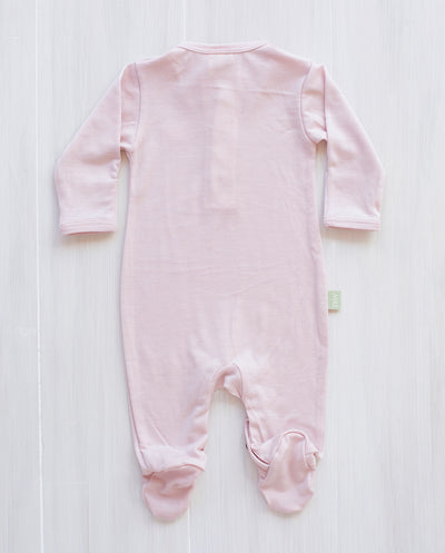 dusty rose merino jumpsuit for babies made in New Zealand