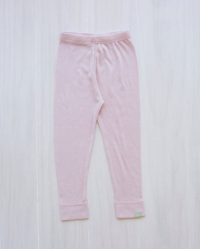 pink organic merino wool leggings