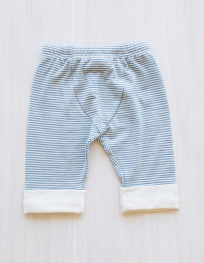 stripe blue organic merino drawstring pants