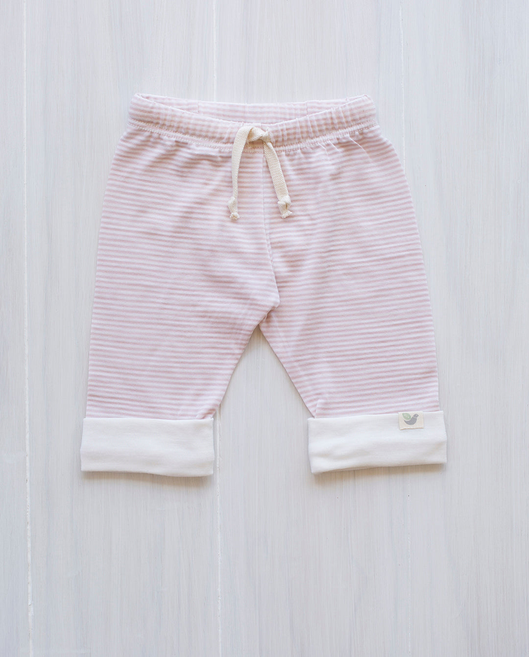 dusty rose stripe drawstring pants for babies