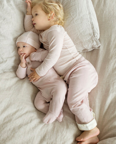 babies wearing merino long sleeve top and drawstring pants