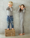 kids wearing grey merino rib top and leggings