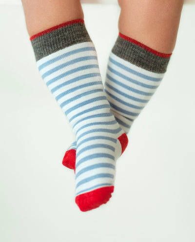 stripe red knee high merino socks