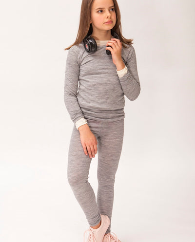girl in merino wool tweens leggings