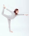organic merino long sleeve top and leggings in grey