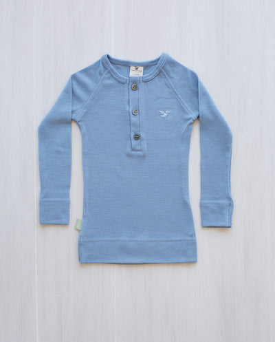 blue merino wool top for kids