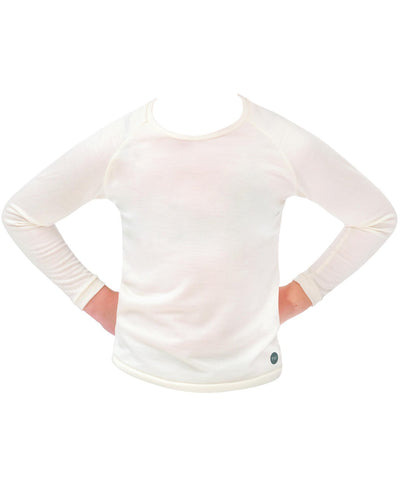 milk organic merino long sleeve top for tweens