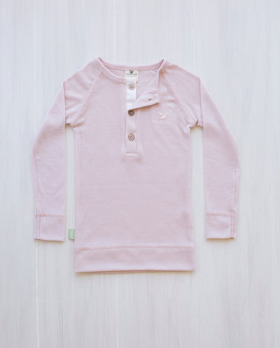 pink merino wool top for kids