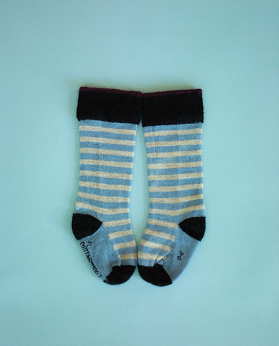 black and taupe stripe merino socks