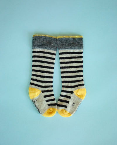 yellow and black stripe merino sock