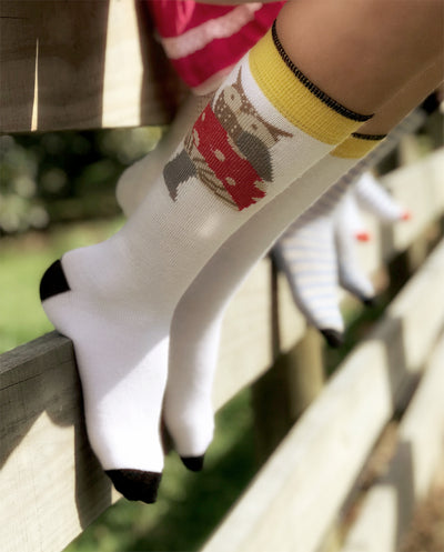 owl merino wool toddler socks