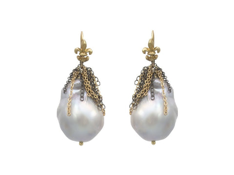 Samira 13 baroque pearl drop earrings