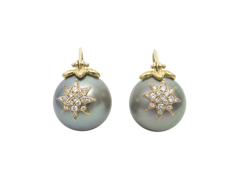 diamond starburst pearl earrings