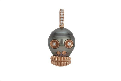 Samira 13 south sea pearl and diamond eye skull pendant