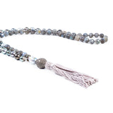 Samira 13 pavé diamond and south sea pearl necklace with grey silk tassel