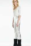 metallic silver capri leather leggings