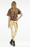 metallic gold capri leather leggings