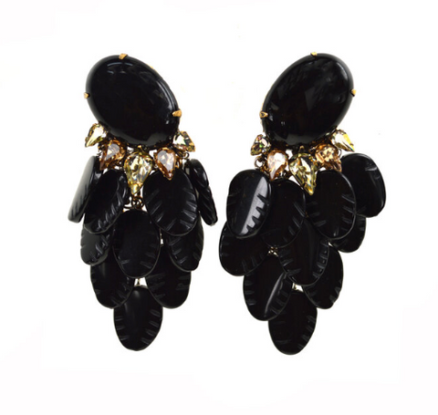 Black Leaves Drop Earrings